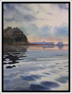 """Stormy Morning"" - Lake Powell Original Watercolor by David Drummond"
