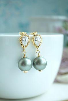Sage Green Swarovski Pearls, Gold Cubic Zirconia Ear Post Earrings. Large Creamy Green Pearl Wedding Bridal, Green Wedding,Bridesmaid Gift by Marolsha = https://www.etsy.com/listing/245023260/sage-green-swarovski-pearls-gold-cubic?ref=shop_home_active_3