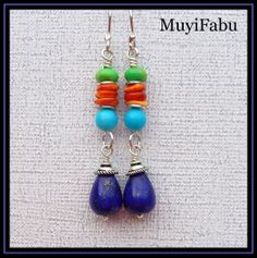 For Sale - Lapis, Turquoise and Spiny Oyster Southwestern Earrings