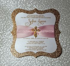 First Holy Communion Invitation by TheCoutureInviteDiva on Etsy