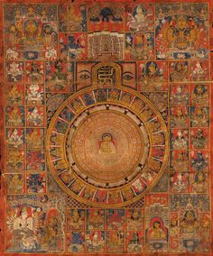 c. 1500 Jain tantric Diagram. India, Gujarat. The circular diagram flanked by a pair of eyes and centered at top with the sacred syllables: 'Ohm' and 'Hrim', painted with a white clad Swetambara figure surrounded by lotus petals and the 24 tirthankaras with two twenty-armed goddesses and two four-armed goddesses at the corners and numerous deities arranged in registers, richly gilt and painted on a red ground with inscriptions in Devanagari around the central