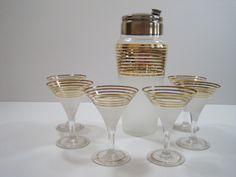 Vintage Art Deco Cocktail Mixer Martini Shaker and Six Goblets Rare Set. $150.00, via Etsy.