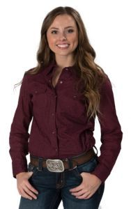 Cumberland Outfitters Women's Plum Tonal Cheetah Print Western Shirt   Cavender's