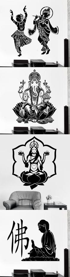 2015 Buddha Dance Indian Hinduism Wall Sticker Home Decor Wall Decal Elephant Ganesh Buddhism Indian Namaste Buddha Om Yoga God