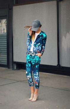bold statement : floral suit + baseball hat