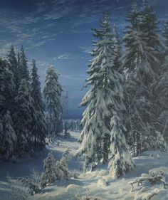 Winter Night Art Print by Basov. All prints are professionally printed, packaged, and shipped within 3 - 4 business days. Choose from multiple sizes and hundreds of frame and mat options. Winter Night, Winter Art, Thing 1, Winter Painting, Vintage Cartoon, Winter Landscape, Winter Scenes, Types Of Art, Beautiful Paintings