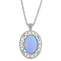 Silver-Tone Blue Moonstone w/ Lt. Sapphire Oval Pendant Necklace 22 Heavenly pastels for an ethereal look. Featuring a cabochon blue moonstone colored pendant in a beautiful silver-toned filigree setting accented with sparkling light sapphire colored crystals. A charming accent to a 22  silver-toned chain.#vintagejewelry #fashionjewelry #costumejewelry #bridaljewelry #antiquejewelry