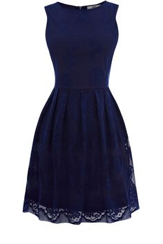 Oasis Lace Cutaway Dress in Blue (dark blue) | Lyst