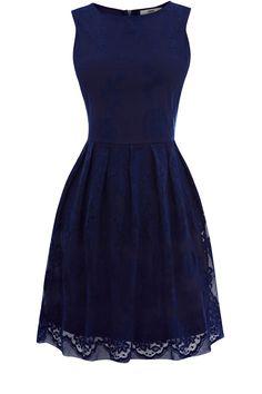 Oasis Lace Cutaway Dress in Blue (dark blue) | Lyst