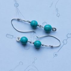 Turquoise Bead Earrings by LiovaJewellery on Etsy Turquoise Beads, Bead Earrings, Belly Button Rings, Unique Jewelry, Jewellery, Silver, Handmade, Etsy, Accessories