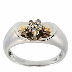 0.25 Cttw G VS IGL Certified Round Diamond Cocktail Ring 14K Two Tone Gold Satin #Cocktail #IGL #Certified #Diamond #Ring #NYCJewelers #Christmas #Gift