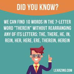 "Did you know? We can find 10 words in the 7-letter word ""Therein"" without rearranging any of its letters: the, there, he, in, rein, her, ere, therein, herein. #english #facts #interestingfacts"