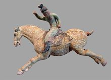 A ceramic female polo player, from northern China, Tang dynasty, first half of the 8th century, made with white slip and polychrome. From the Musée Guimet (Guimet Museum), Paris.