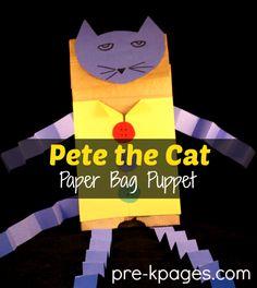 Teach Alliteration with Pete the Cat DIY Paper Bag Puppet #preschool #kindergarten