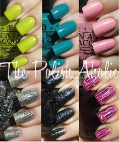 Can't decide if I like the #NickiMinajOPI collection maybe the lime on short nails would look better