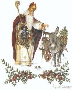 Saint Nicolas et son âne, aquarelle, Michel Delsaute. Enjoyed by www.mygrowingtraditions.com