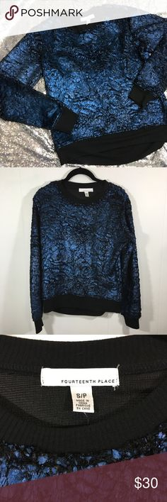 """Fourteenth Place Small Textured Sweatshirt NWT Comfortable sweatshirt with a very fun and stylish texture.  Blue texture catches the light with black accents perfectly complimenting.  Relaxed fit.  New with tags.back is just slightly longer than the front.  22"""" Long in front, 21"""" armpit to armpit. fourteenth place Tops Sweatshirts & Hoodies"""