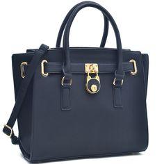 New Women Handbag Faux Leather Wide Pyramid Studded Shoulder Bag Black//Bronze