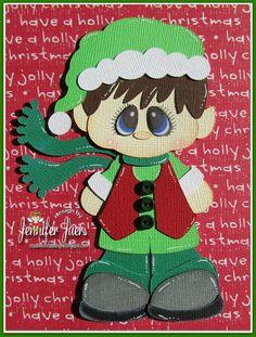 Santa's Little Helper, Made to Order, premade paper piecing, elf, scrapbook, layout, page, album, border, card, boy on Etsy, $9.99