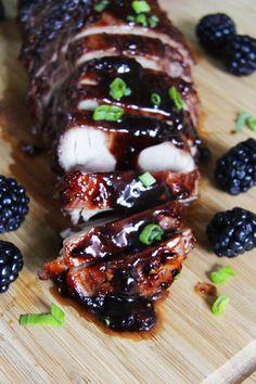 Blackberry Hoisin Ginger Pork Tenderloin - from Carlsbad Cravings. Pork Tenderloin Recipes, Pork Roast, Pork Recipes, Cooking Recipes, Pork Loin, Ginger Pork, Roasted Pork Tenderloins, Carlsbad Cravings, Meat Recipes