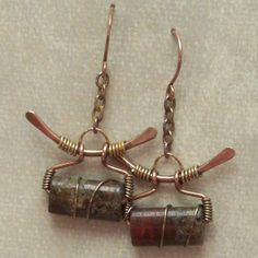 Mixed Metal Wire Wrapped Beaded Dandle Earrings by IntuitiveGlass, $23.00