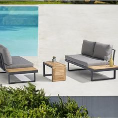 Outdoor Sofa Sets, Outdoor Decor, 3 Piece Sectional, Sectional Sofa, Fresco, Outdoor Furniture Design, Wood Sofa, Solid Wood Table, Table Dimensions