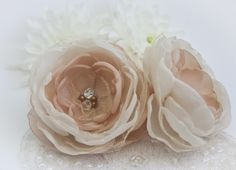 Ivory and Beige Hair Flowers