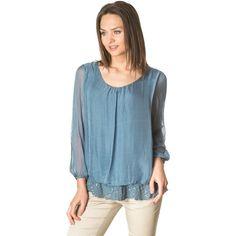 Blue sequins silk blouse