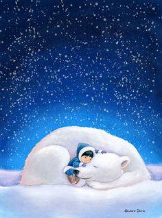 Children's Wall Art Print Polar Bear and Little by LauraZarrin Winter Illustration, Children's Book Illustration, Cute Images, Cute Pictures, Art D'ours, Art Carte, Childrens Wall Art, Bear Art, Winter Art