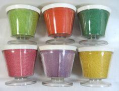6 Vintage Burlap Straw Weave Raffia Ware Melmac Dessert Pedestal Cup Dish TiKi