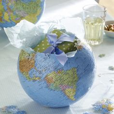 puzzle globes as gift packaging