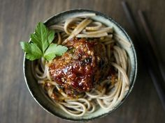 Asian inspired meatballs and spahetti