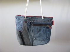 blue denim patchwork shoulder bag - repurposed - red accents - carryall bag - everyday bag - zipper closure bag