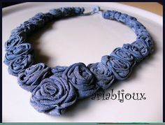 Denim roses necklace
