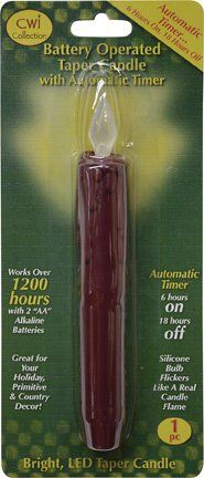 Burgundy Drip Sleeve Battery LED Silicone Tipped Flickering Bulb Timer Taper Candlestick Country Primitive Dcor ** You can get more details by clicking on the image.