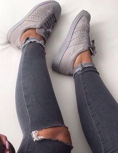 what a lovely grey suede Adidas Superstar sneakers Women's Shoes, Cute Shoes, Me Too Shoes, Beige Shoes, Footwear Shoes, Adidas Shoes Women, Nike Women, Baskets Addidas, Basket Mode