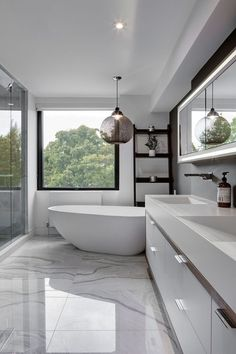 NY House: Bringing a Dash of New York into a Modern Toronto Home : Polished marble flooring for the contemporary bathroom in white Bad Inspiration, Bathroom Inspiration, Bathroom Ideas, Bathroom Designs, Shower Designs, Bathroom Pictures, Family Bathroom, Dream Bathrooms, Beautiful Bathrooms