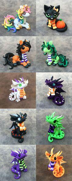 clay dragons, clay halloween cat, clay pony
