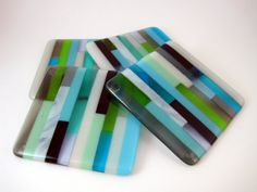 Seaside Striped Fused Glass Coasters Set of 4 by IdleCreativity, $32.00