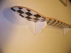 black and white checkerd skateboard shelf by skateboardshelf, $15.00