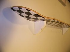 black and white checkerd skateboard shelf by skateboardshelf, $15.00