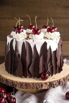 This Black Forest Cake combines rich chocolate cake layers with fresh cherries, . - This Black Forest Cake combines rich chocolate cake layers with fresh cherries, cherry liqueur, and - Whipped Cream Frosting, Cream Cake, Cherry Frosting, Buttercream Frosting, Ice Cream, Sour Cream, Cherry Liqueur, Black Forest Cake, Black Forest Birthday Cake
