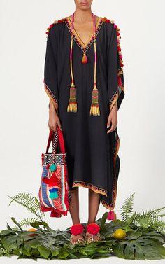 This **Figue** Elettra Tassel Kaftan features a v-neckline with tassel embellished sleeves , printed silhouette, and asymmetrical hemline. Iranian Women Fashion, Pakistani Fashion Casual, Abaya Fashion, Boho Fashion, Fashion Dresses, Hippie Outfits, Chic Outfits, Morrocan Dress, Nice Dresses
