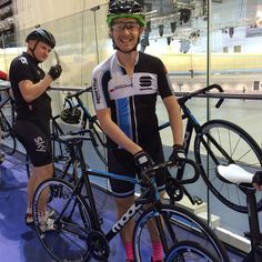 First time track riding last night, this was me getting back on the bike, as you can tell I loved it. #Cycling #trackcycling #track #sportful #kask #pinksocks #defeet #sako7 #moda #derbyvelodrome #velodrome #fixedgear #trackbike