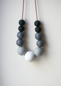 Ombre Wooden Beads Necklace with the great name Foggy Morning, from UnderlingDesign $ 38