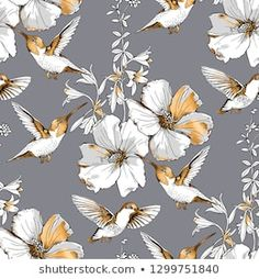 Exotic Tropical Hibiscus flowers and hummingbirds. Gold and silver composition on a gray background. Acrylic Painting Flowers, Abstract Watercolor Art, Watercolor Flowers, Spring Desktop Wallpaper, Plant Sketches, Floral Vintage, Hibiscus Flowers, Floral Prints, Tropical
