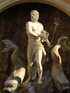Statue of Poseidon with Dolphins -  at the Rome