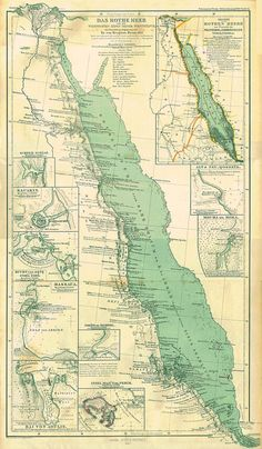 This is a map of the Red Sea. The sea is a way of trade for countries such as Saudi Arabia, Egypt, and small parts of Yemen. Vintage Maps, Antique Maps, Map Compass, Atlas, Old Maps, Historical Maps, Map Design, The Kingdom Of God, Red Sea