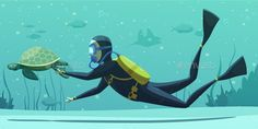 Buy Underwater Diving Sport Cartoon Poster by macrovector on GraphicRiver. Underwater swimming with scuba diving equipment suit snorkel mask fins flat poster with sea turtle vector illustration Scuba Diving Equipment, Scuba Diving Gear, Cave Diving, Underwater Swimming, Breathing Underwater, Cartoon Posters, Cartoons, Cartoon Images, Scuba Bcd