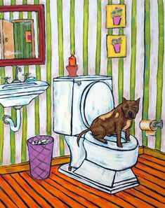Pit bull terrier in the bathroom signed dog art by SCHMETZPETZ